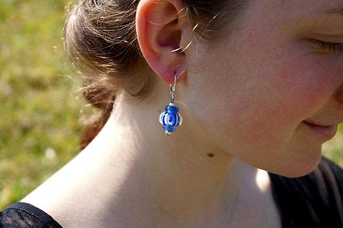Ohrhänger dunkelblau gemustert