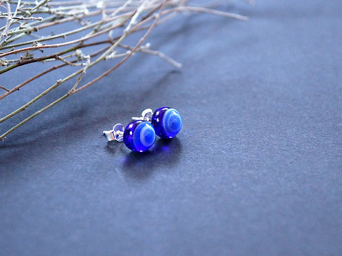 Ohrstecker blau gemustert
