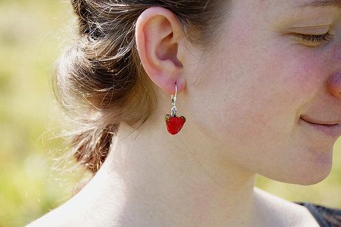 Ohrhänger hellrote Erdbeere