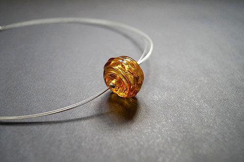 Collier mit Hohlglasperle Honig
