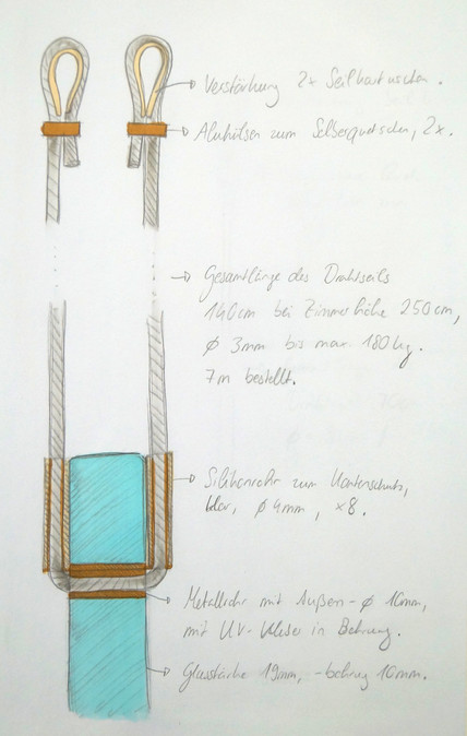 Skizze für die Halterung einer Installation