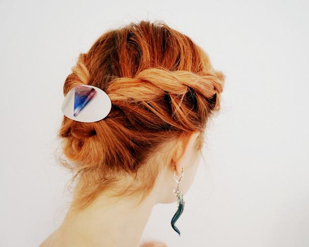 Haarspange mit geschliffenem Hüttenglas