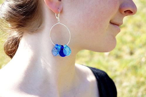Creolen mit blauen Blättchen