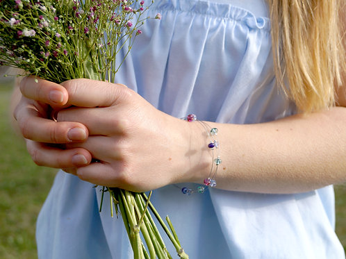 "Armband ""Konfetti"" in Aqua, Rosa und Lila"