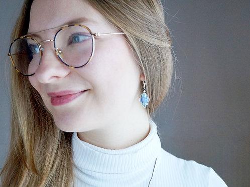 Ohrhänger blau-rosé gestreift