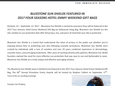 Bluestone Sun Shields Featured in 2017 Four Seasons Hotel Emmy Weekend Gift Bags