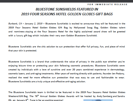 BLUESTONE SUNSHIELDS FEATURED IN 2019 FOUR SEASONS HOTEL GOLDEN GLOBES GIFT BAGS