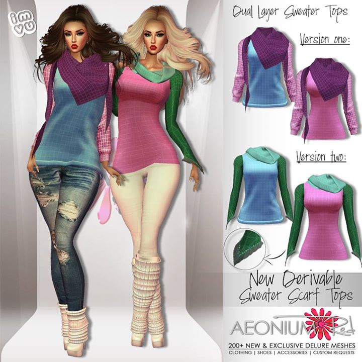 NEW NEW NEW!!_New Derivable Sweater Scarf Tops are now available in my shop _) Meshes by Julie Kay M