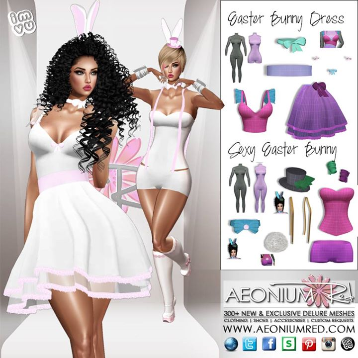 New Derivable Easter Bunny Outfits! _Shop AeoniumRed _Quality HD meshes by Julie Kay Miller Delure!