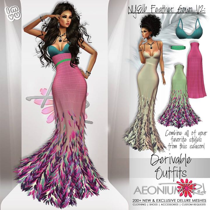 NEW NEW NEW! New Derivable Feather Gown V2 is in my shop this morning! Combining all of your favorit