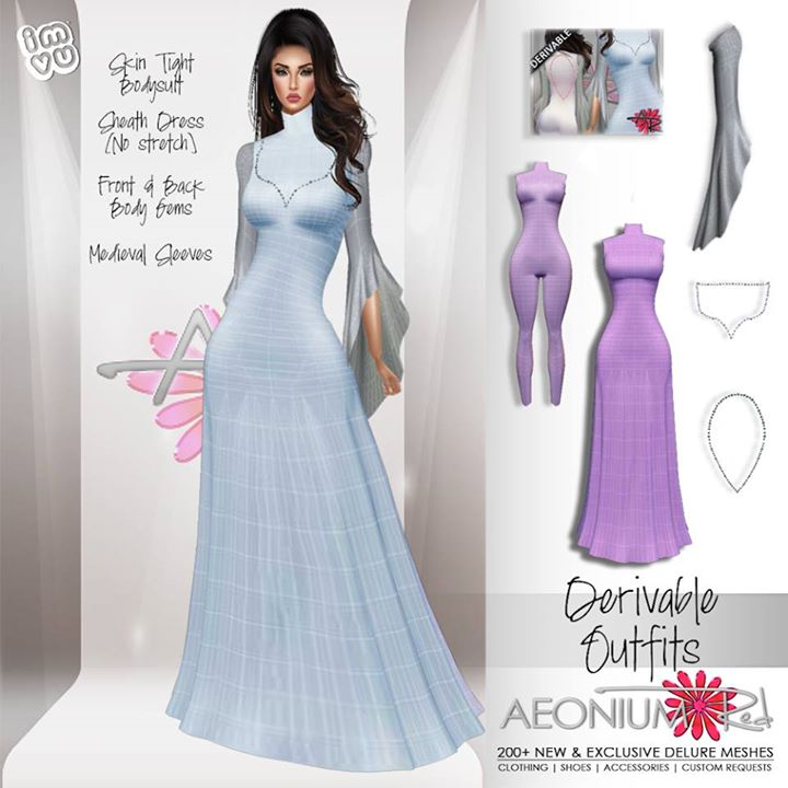 NEW! Sheath Dress with Top & Back Gems + Full Bodysuit ! Shop AeoniumRed ♥ Meshes by the ever so tal