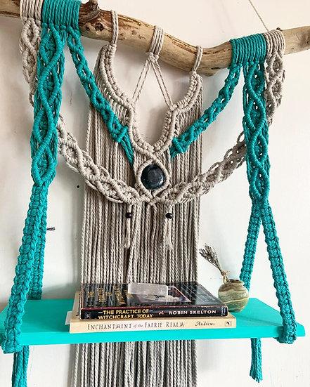 Turquoise & Taupe Macrame Shelf