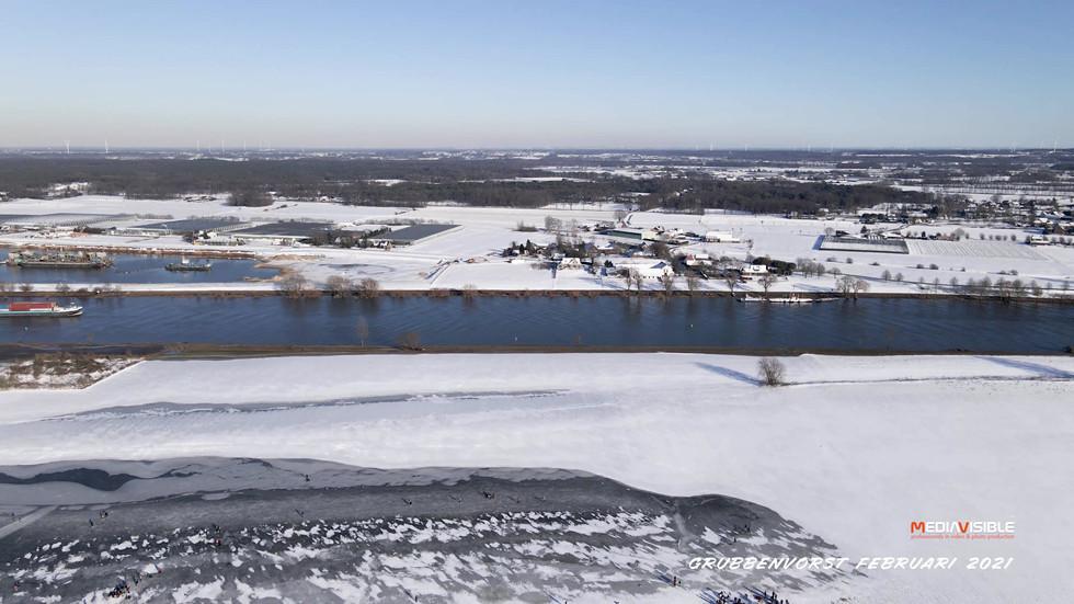 """Grubbenvorst schaatsen op """"De Kleine Maas"""", februari 2021"""