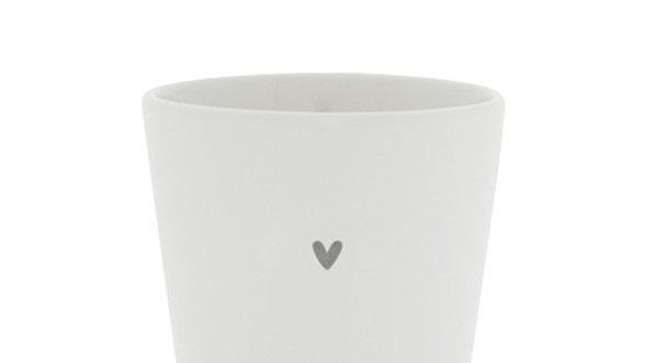 Cup White little heart in Black 9x9x7.5cm