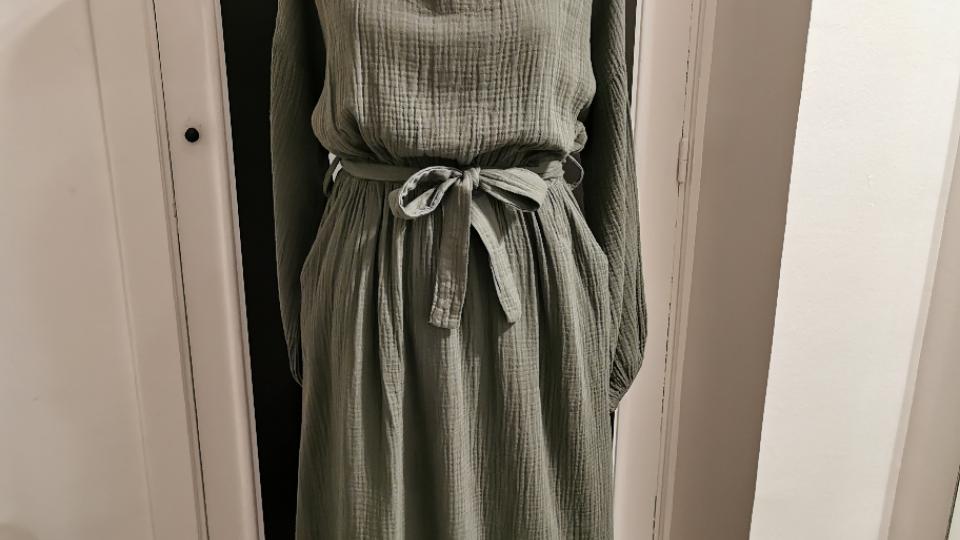Tetra jurk V-hals Kaki/zwart/beige/antraciet grijs