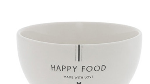Bowl White/Happy Food in Black 13x7cm