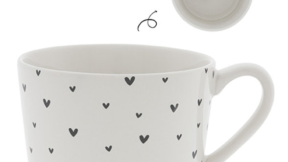 Cup White / little Hearts in Black 10x8x7cm