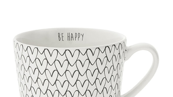 Cup white Heart pattern in Black 10x8x7cm