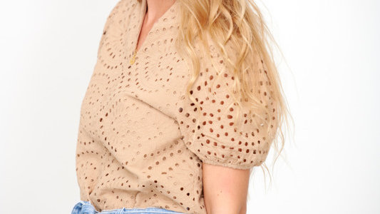 Blouse camel broderie