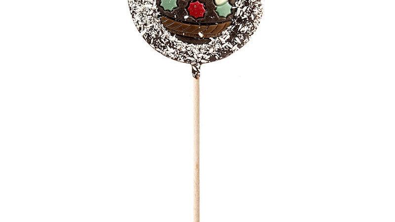 Chocolade lolly Fondant met kerstmotief