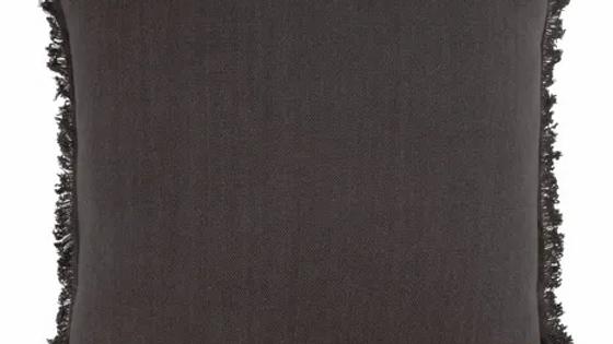 Kussen met franjes 45 x 45 cm grafietgrijs
