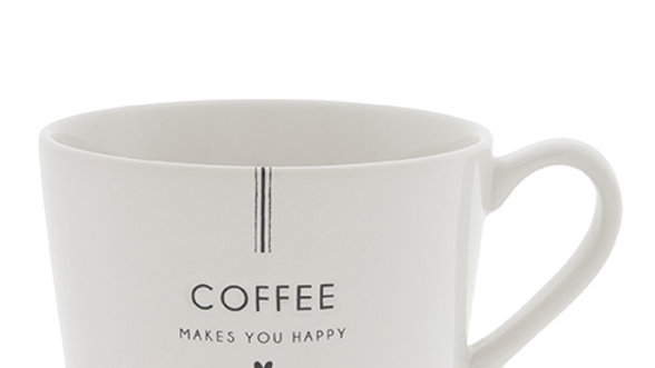 Cup White/Coffee makes you Happy in Black10x8x7cm