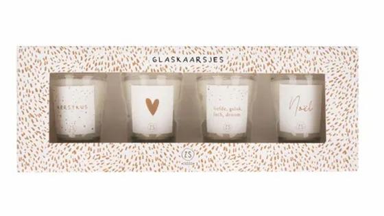 Set van 4 glaskaarsjes wit