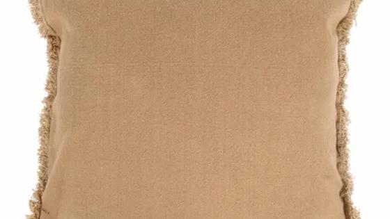 Kussen met franjes 45 x 45 cm camel