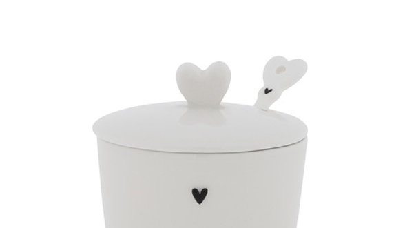 Sugar Bowl little heart & spoon in black 7x85x7cm
