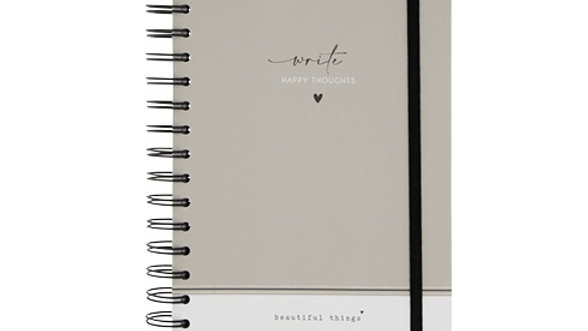 "Notebook A5 Wire ""Write happy thoughts"""