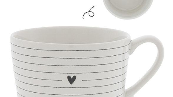 Cup White / Stripes & Heart in Black 10x8x7cm