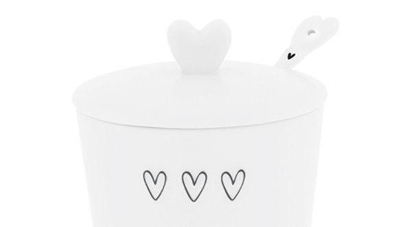 Sugar Bowl White/3hearts& spoon in black 7x85x7cm