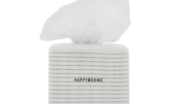 Tissue Box White small Stripes 13.5x13.5x13 cmHappy Home