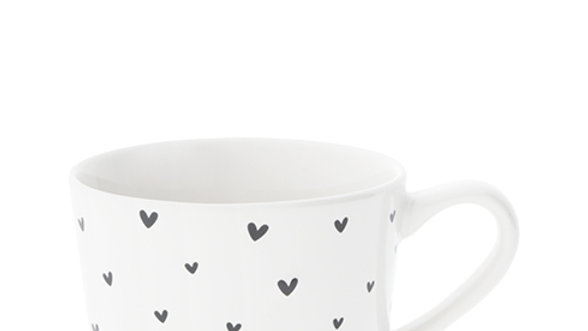 Mug Small White/little hearts in black 8.5x7.2x6cm
