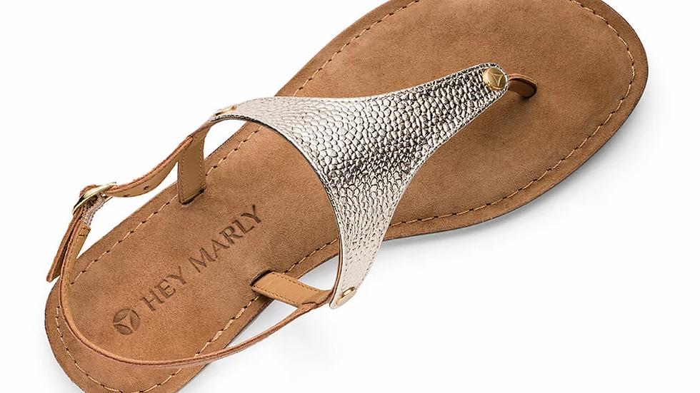 Lederen sandalen Metallic Gold