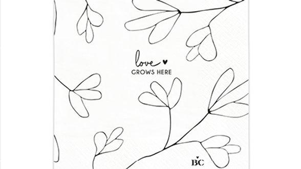 """Servetten klein  """"Love grows here"""" 12,5 x 12,5 cm"""