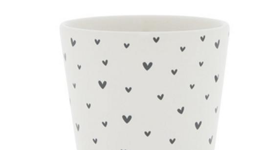 Cup White / mini hearts in Black 9x9x7.5cm