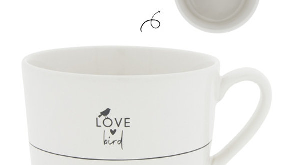 Cup White/Love Birds 10 x8 x 7cm