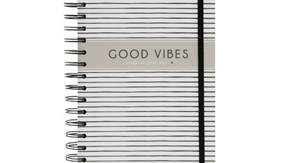"Notebook A5 Wire ""Good vibes brighten your day"""