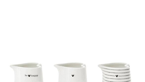 Jug White be Happy/Stripes/Heart 6,0x6,5x9,0cm