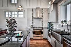 Custom gray and black tile backsplash