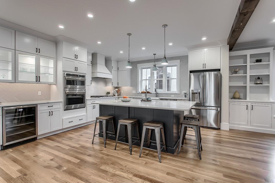 Magnificent Open Concept Modern White Kitchen