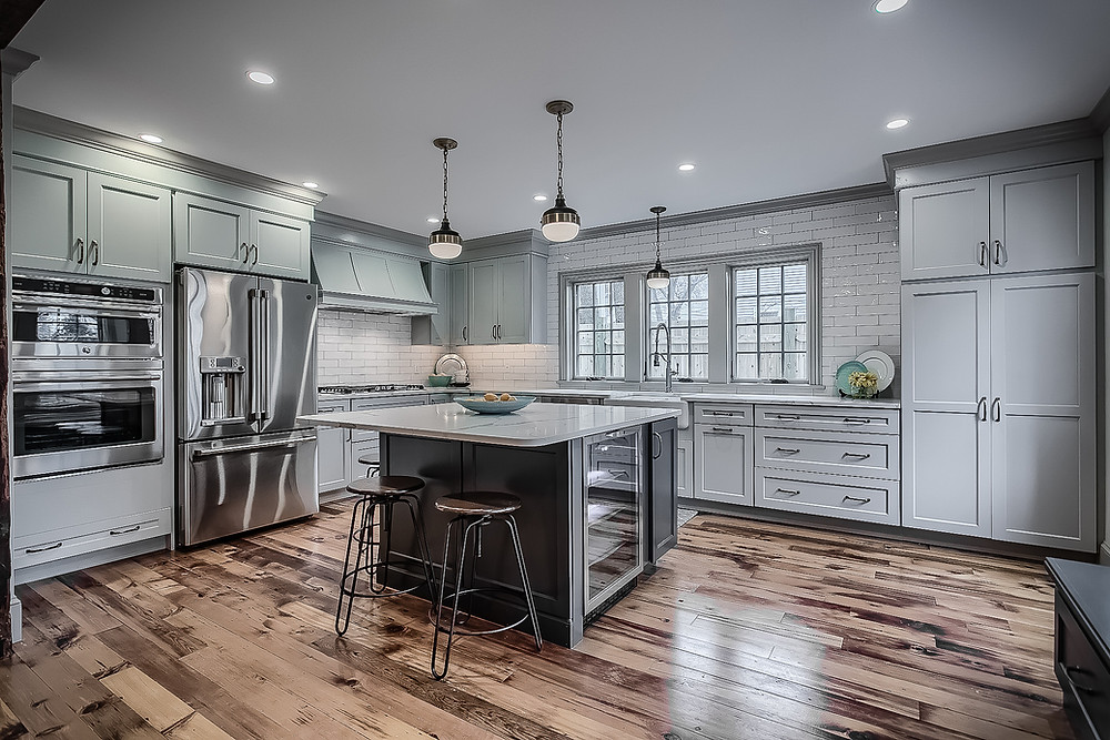 Custom kitchen with gleaming hardwood floors