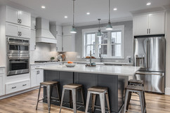Huge Quartz Island Dark Gray Cabinetry