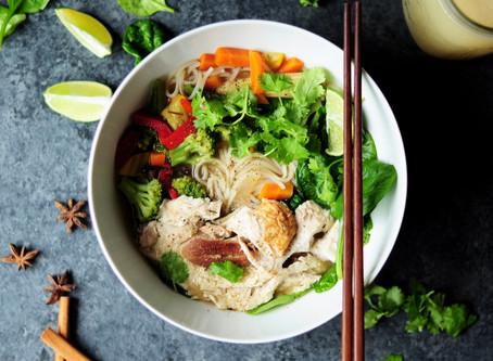 Ramen med kylling og frisk grønt