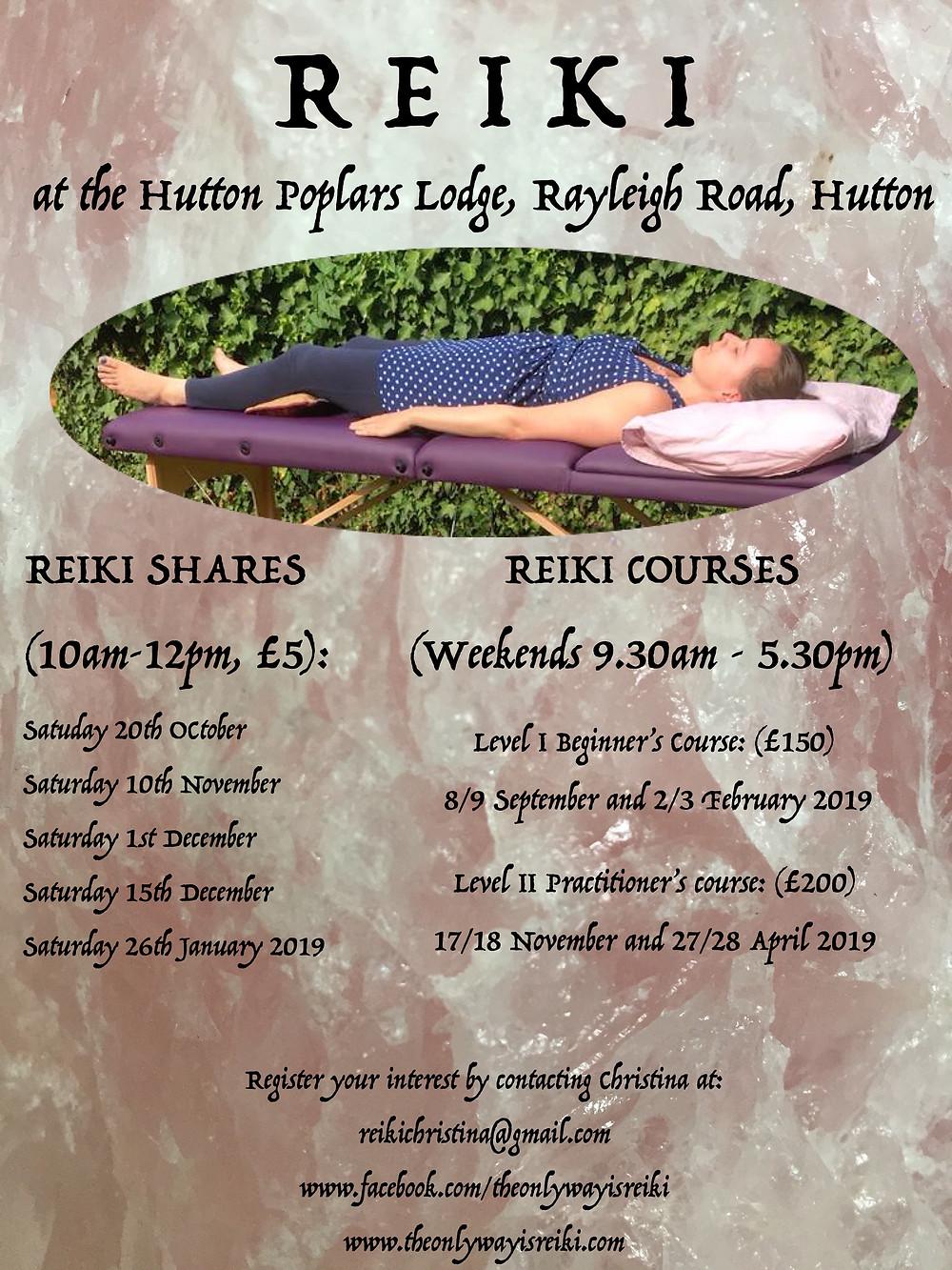 Reiki at the Hutton Poplars Lodge, Hutton, Essex