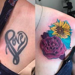 Today's project #rosetattoo #sunflower #tattoo #notwtattoo #notw #notofthisworld #stonemountain #sto