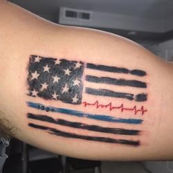 Totally enjoyed this fun piece! #america #murica #redwhiteandblue #blueline #patriotic #atlantatatto