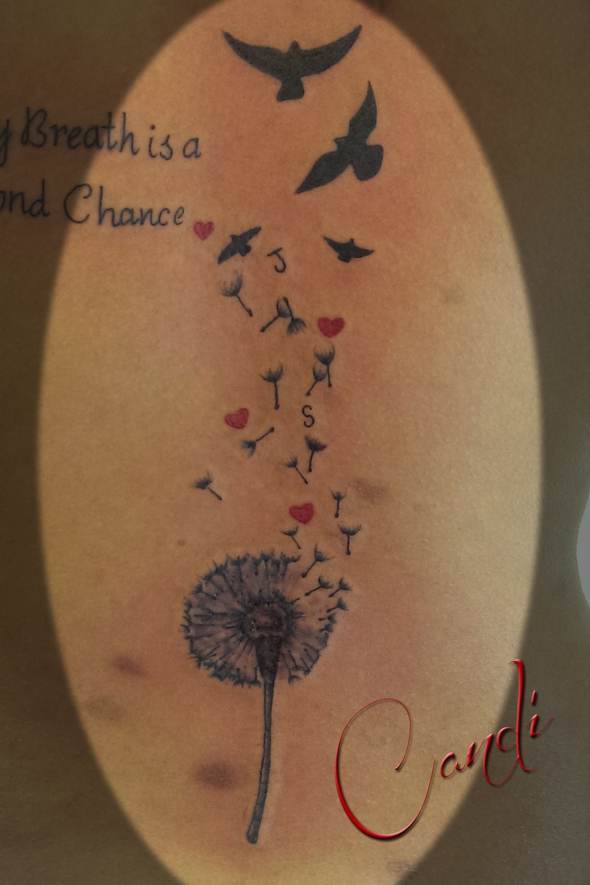Dandelion and Birds with Hearts
