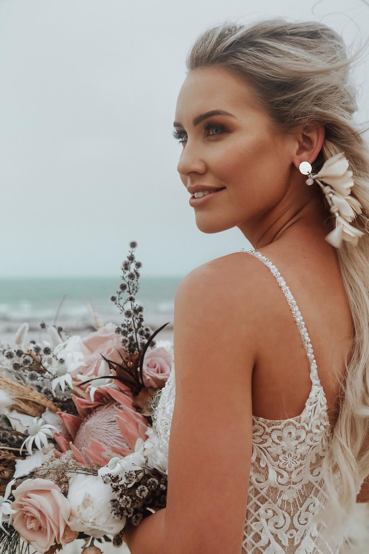 Beach Wedding Makeup Artist Boho flowers